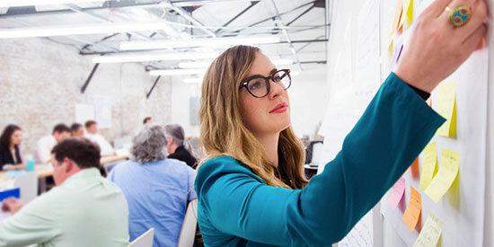 Edie Feinstein during her first start-up job with Kickboard.